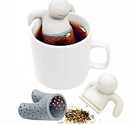 1pc милый mr.tea мешок teabag силиконовый чай лист сетчатый инфузор сумка чайник фильтр drinkware маленький человек форму