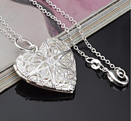 cheap -Women's Heart Fashion Pendant Necklace Silver Plated Pendant Necklace , Other Gift