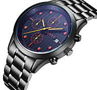 Men's Casual Watch Fashion Watch Quartz Calendar Stainless Steel Band Luxury Casual Cool Black