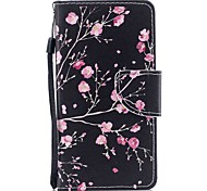 Case For Apple Ipod Touch5 / 6 Case Cover Card Holder Wallet with Stand Flip Pattern Full Body Case  Black Safflower Hard PU Leather