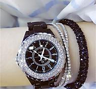 Недорогие -Жен. Наручные часы Модные часы Японский Кварцевый Повседневные часы Керамика Группа Кулоны Черный Белый