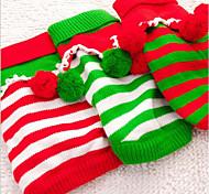 Кошка Собака Свитера Рождество Одежда для собак новый На каждый день Сохраняет тепло В полоску Белый Красный Зеленый Костюм Для домашних