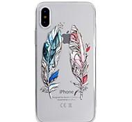 baratos -Capinha Para Apple iPhone X iPhone 8 Ultra-Fina Translúcido Estampada Capa traseira Penas Macia TPU para iPhone X iPhone 8 Plus iPhone 8