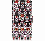 baratos -Capinha Para Apple iPhone X iPhone 8 Porta-Cartão Carteira Com Suporte Capa Proteção Completa Caveiras Rígida PU Leather para iPhone X
