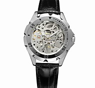 FORSINING Men's Fashion Watch Dress Watch Wrist watch Mechanical manual-winding Hollow Engraving Leather Band Vintage Black