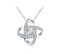 cheap -Women's Geometric Korean Sweet Fashion Pendant Necklace Synthetic Diamond Copper Glass Pendant Necklace , Gift Daily
