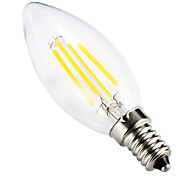 economico -BRELONG® 1pc 4W 300-350 lm E14 Lampadine LED a incandescenza C35 leds COB Oscurabile Decorativo Bianco caldo CA 220-240 V