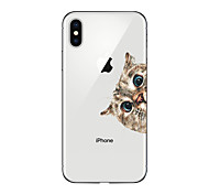 abordables -Funda Para Apple iPhone X iPhone 8 Plus Transparente Diseños Cubierta Trasera Gato Suave TPU para iPhone X iPhone 8 Plus iPhone 8 iPhone