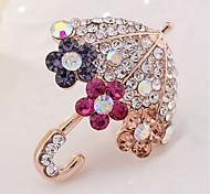 cheap -Men's Women's Brooches Rhinestone Classic Lovely Imitation Diamond Alloy Umbrella Gold Jewelry For Daily