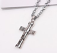 cheap -Men's Cross Pendant Necklace Chain Necklace  -  Classic Ethnic Silver Necklace For Gift Daily