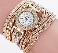 Damen Armbanduhren für den Alltag Modeuhr Simulierter Diamant Uhr Chinesisch Quartz Chronograph Armbanduhren für den Alltag Leder Band
