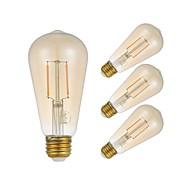 baratos -GMY® 4pçs 2W 180 lm E27 Lâmpadas de Filamento de LED ST58 2 leds COB Lâmpada Edison Decorativa Luz LED Branco Quente AC 220-240V