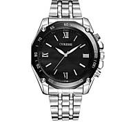 Недорогие -Муж. Модные часы Наручные часы Китайский Кварцевый Повседневные часы Нержавеющая сталь Группа минималист Серебристый металл