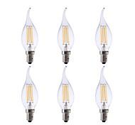 cheap -GMY® 6pcs 3.5W 350lm E12 LED Filament Bulbs CA10 4 LED Beads COB Dimmable Decorative LED Light Warm White 110-130V
