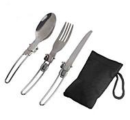 Недорогие -3 шт / комплект наружной нержавеющей стали посуда из нержавеющей стали складной ложкой вилка нож