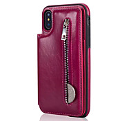 cheap -Case For Apple iPhone X iPhone 8 Plus Card Holder with Stand Back Cover Solid Color Hard Genuine Leather for iPhone X iPhone 8 Plus