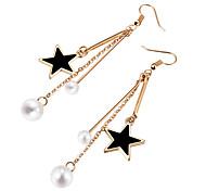 cheap -Women's Star Imitation Pearl Drop Earrings - Fashion Gold Earrings For Party
