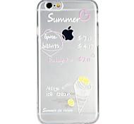 Недорогие -Кейс для Назначение Apple iPhone 6 iPhone 7 Полупрозрачный С узором Рельефный Кейс на заднюю панель Продукты питания Слова / выражения