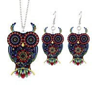 cheap -Women's Owl Jewelry Set 1 Necklace / Earrings - Animals / Simple / Fashion Red Drop Earrings / Pendant Necklace For Ceremony / Going out