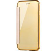 Недорогие -Кейс для Назначение Apple iPhone X iPhone 8 с окошком Покрытие Зеркальная поверхность Флип Прозрачный Чехол Сплошной цвет Прозрачный