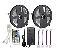 cheap -ZDM® 300 LEDs 2x 5M LED Strip Light 1 12V 6A Adapter 1 44Keys Remote Controller 4 Connectors RGB Cuttable Self-adhesive AC100-240