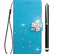 cheap -Case For OPPO Oppo R11s Oppo F5 Card Holder Wallet Rhinestone with Stand Flip Embossed Full Body Cases Flower Hard PU Leather for OPPO