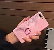 Недорогие -Кейс для Назначение Apple iPhone 7 iPhone 6 Защита от удара Кольца-держатели Кейс на заднюю панель Сплошной цвет Твердый ПК для iPhone 7