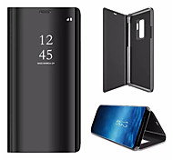 cheap -Case For Samsung Galaxy S9 S9 Plus with Stand Plating Mirror Flip Auto Sleep/Wake Up Full Body Cases Solid Color Hard PU Leather for S9