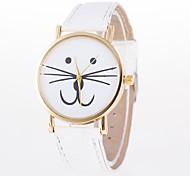 Недорогие -Жен. Кварцевый Модные часы Китайский Повседневные часы Кожа Группа Мультяшная тематика Кошка Белый