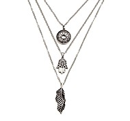 cheap -Women's Pendant Necklace Layered Necklace - Alloy Vintage Fashion Circle Leaf Hamsa Hand Necklace For Gift Bikini