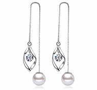 cheap -Women's Leaf Cubic Zirconia Imitation Pearl Drop Earrings - Basic Fashion Silver Leaf Earrings For Daily Ceremony