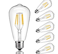 cheap -6pcs 4W 360 lm E26/E27 LED Filament Bulbs ST64 4 leds COB Decorative Warm White Cold White 220-240V