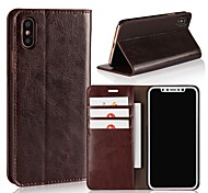 cheap -Case For Apple iPhone X iPhone 8 Plus Card Holder Wallet Shockproof with Stand Flip Full Body Cases Solid Color Hard Genuine Leather for
