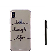 cheap -Case For Apple iPhone X iPhone 8 Plus Translucent Back Cover Word / Phrase Soft TPU for iPhone X iPhone 8 Plus iPhone 7 Plus iPhone 7