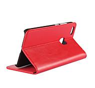 Недорогие -Кейс для Назначение Huawei P10 Lite Бумажник для карт со стендом Флип Чехол Сплошной цвет Твердый Настоящая кожа для P10 Lite