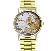 Недорогие -Муж. Китайский Секундомер / Крупный циферблат Нержавеющая сталь Группа Карта для путешествий / World Map Pattern Золотистый