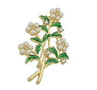 cheap -Women's Leaf / Flower Imitation Pearl Brooches - Basic / Fashion Gold Brooch For Daily / Date