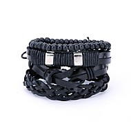 cheap -Men's Leather 4pcs Wrap Bracelet - Statement Irregular Black Bracelet For Daily Street