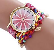 baratos -Mulheres Quartzo Relógio de Moda Chinês Mostrador Grande Tecido PU Banda Casual Fashion Preta Branco Azul Vermelho Marrom