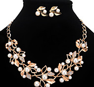cheap -Women's Pearl / Imitation Pearl / Rhinestone Floral Jewelry Set Earrings / Necklace - Personalized / Floral / Fashion Gold / Silver