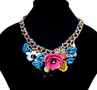 cheap -Bib Statement Necklace - Flower European, Colorful Red, Pink, Dark Green 45 cm Necklace For Party / Evening, Evening Party