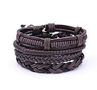 cheap -Men's Leather 4pcs Wrap Bracelet - Vintage Casual Irregular Brown Bracelet For Daily Club