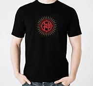 Недорогие -LED-футболка Осветительные приборы Модный дизайн Электролюминесцентные Сияние в темноте Активация звуком Чистый хлопок Для вечеринки На