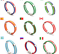 cheap -Men's Women's Country Flag Braided Rope Leather Bracelet Wristband Football / Soccer World Cup PU Leather Allon Clasp 22*1*0.51cm Outdoor