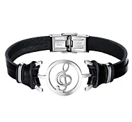 cheap -Men's Stainless Steel Leather 1pc Leather Bracelet - Fashion Music Notes Black Bracelet For Daily