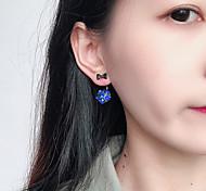 Недорогие -Жен. В форме банта Кристалл Серьги-гвоздики / Серьги пуассеты - Простой / На каждый день / корейский Серый / Тёмно-синий В форме банта