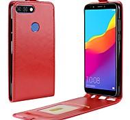 Недорогие -Кейс для Назначение Huawei Y9 (2018)(Enjoy 8 Plus) Honor 9 Lite Бумажник для карт Флип Чехол Однотонный Твердый Кожа PU для Huawei Honor