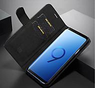 Недорогие -Кейс для Назначение SSamsung Galaxy S9 Plus / S9 Кошелек / Бумажник для карт / Флип Чехол Однотонный Твердый Настоящая кожа для S9 / S9