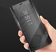 Недорогие -Кейс для Назначение Huawei P smart со стендом Зеркальная поверхность Чехол Однотонный Твердый Кожа PU для P smart