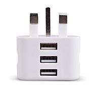 Недорогие -Портативное зарядное устройство Зарядное устройство USB Стандарт Великобритании 3 USB порта 2.1 A 100~240 V